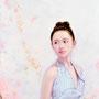 「余白の創造 ... 君と桜舞う一時」 10号P(41.0×53.0cm) 油彩画、金箔