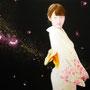 「余白の創造 ... 君と桜舞う一時」/50号P(116.7×58.3cm)/油彩画、金箔、アルミ箔