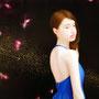 「余白の創造 ... 君と桜吹雪」/12号M(60.6×41.0cm)/油彩画、金箔、アルミ箔