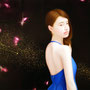 「余白の創造 ... 君と桜吹雪」/12号M(60.6×41.0cm)/油彩、金箔、アルミ箔、キャンバス、パネル