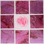 「薔薇圖 ... ハートの余白 -P-」/0号S(18.0×18.0cm)/油彩、金箔、虹彩箔(ピンク、ローズ)、キャンバス、パネル