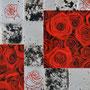 「薔薇圖 ... 赤の余白」 12号M(60.6×41.0cm) 油彩画、銀箔、プラチナ箔