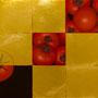 「とまと圖 ... レッドの余白」/8号M(45.5×27.3cm)/油彩、金箔、キャンバス、パネル