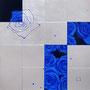 「薔薇圖 ... ブルーの余白」/6号S(41.0×41.0cm)/油彩画、銀箔、プラチナ箔、アルミ箔