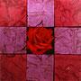 「薔薇圖 ... レッドの余白」/4号S(33.3×33.3cm)/油彩、虹彩箔(レッド、ローズ)、キャンバス、パネル