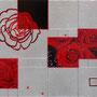 「薔薇圖 ... 赤の余白」 3号F(27.3×22.0cm) 油彩画、銀箔、プラチナ箔、アルミ箔