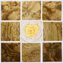 「薔薇圖 ... ハートの余白 -Y-」/0号S(18.0×18.0cm)/油彩、虹彩箔(ゴールド)、キャンバス、パネル