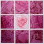 「薔薇圖 ... ハートの余白 -P-」/0号S(18.0×18.0cm)/油彩、虹彩箔(ピンク、ローズ)、キャンバス、パネル