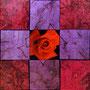 「薔薇圖 ... レッドの余白」/4号S(33.3×33.3cm)/油彩、虹彩箔(レッド、ピンク)、キャンバス、パネル