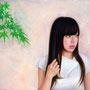 「余白の創造 ... 紅葉と君」 6号P(41.0×27.3cm) 油彩画