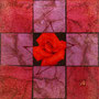 「薔薇圖 ... レッドの余白」/3号S(27.3×27.3cm)/パネル、キャンバス、油彩、虹彩箔(レッド、ローズ)