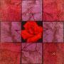 「薔薇圖 ... レッドの余白」/3号S(27.3×27.3cm)/油彩、虹彩箔(レッド、ローズ)、キャンバス、パネル