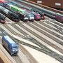 Aufstellung der Züge im Schattenbahnhof für die Ausstellung
