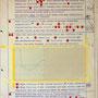 Tafel 1 – Eine späte Antwort, Herr Krüger!; Acryl und Tape auf bedrucktem Papier, kaschiert auf seitlich mit Aluminium gerahmtem Holzgestell; 184,5 x 134,0 x 5,0 cm; 2015