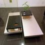 移動式ローテーブルです。ゴールドとブラックのコントラストがすてきです。