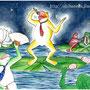 「宴蛙」 水彩画(B4サイズ) May