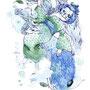 【狐面の3人組】LINEスタンプ700DL記念イラスト。