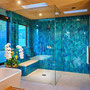 An electric blue shower is just the thing to wake you up in the morning.