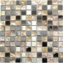 A stainless steel and shell mosaic for a beautiful blend of metallic and iridescent color.