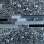 Blue Pearl granite and a matching glass and granite linear mosaic