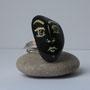 BI-BAG-GAL-VIS-006-Bague Visage blanc fond noir nez boxeur 3x1,8cm (galet peint, anneau argenté réglable) - 20€ Sur commande
