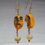 BI-BO-MOD-TET-005-Boucles d'oreilles Têtes jaunes 6,6cm (modelées et peintes à la main, perles) - 30€ Sur commande