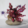BI-BAG-FOU-010-Bague Fouillis rose étoile 5x5cm (perles, anneau doré réglable) - 30€