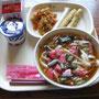 6/24 山菜うどん、シシャモ天ぷら、白菜のおかかあえ、ヨーグルト