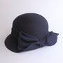 リボンのウールキャペリン tête salon de chapeau