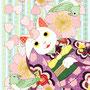 ◆ベクターイラスト(配色まで)+素材塗り加工(質感)◆春夏秋冬四季の猫のイラスト集「春うらら…着物猫と桜と鶯」