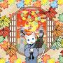 ◆ベクターイラスト(配色まで)+素材塗り加工(質感)◆春夏秋冬四季の猫のイラスト集「真赤な秋の窓」