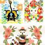 ◆ベクターイラスト(配色まで)+素材塗り加工(質感)◆見える!見せない!!/Looks! Does not show!! 苺大福/Strawberry Daifuku 梟と鯉/An owl and a carp