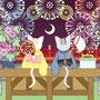 ◆ベクターイラスト(配色まで)+素材塗り加工(質感)◆春夏秋冬四季の猫のイラスト集「猫カップルと花火大会」