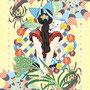 ◆ベクターイラスト(配色まで)+素材塗り加工(質感)◆ポニーテールと猫耳/Ponytail and cat ears