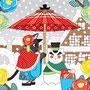 ◆ベクターイラスト(配色まで)+素材塗り加工(質感)◆春夏秋冬四季の猫のイラスト集「猫雪達磨と相合傘」
