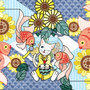 ◆ベクターイラスト(配色まで)+素材塗り加工(質感)◆猫と金魚/Cat and goldfish
