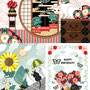◆ベクターイラスト(配色まで)+素材塗り加工(質感)◆「おめでたい春花火」「天高く猫並ぶ夏」「猫とハートの花束バースデーカード」