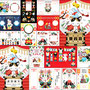 ◆ベクターイラスト(配色まで)+素材塗り加工(質感)◆2020年・令和2年子年無料イラスト年賀状デザイン「鼠と猫とで初詣」謹賀新年&販売デザインサンプル