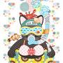 ◆ベクターイラスト(配色まで)+素材塗り加工(質感)◆夏の海水浴猫/Sea bathing cat in summer