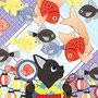 ◆ベクターイラスト(配色まで)+素材塗り加工(質感)◆春夏秋冬四季の猫のイラスト集「夏祭り猫と金魚」