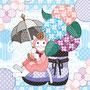 ◆ベクターイラスト(配色まで)+素材塗り加工(質感)◆春夏秋冬四季の猫のイラスト集「紫陽花と蝸牛」