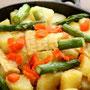 北海道(じゃが芋、アスパラ、白いトウモロコシ、サーモンのバター炒め)