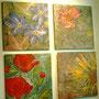 4teiliges Polyptychon Blumen - Leberblümchen, Chrysantheme, Mohn, Sonnenblume 4 x 53,1x50,6