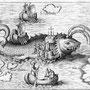 1621年発行の図版。クジラの背中でミサを行う聖ブレンダンの姿が描かれている