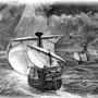 コロンブスの3隻の船が大海原を航行するさまを描いた銅版画