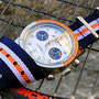 Band: Nato XT »Blue Heritage« | Uhr: Jaques Monnat Orange Boy Chrono