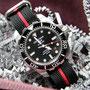 Band: Zulu HC, 3 Ring, »Stripey« | schwarz -rot  | Uhr: Certina DS Action