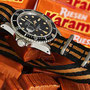 Band: XL Seatbelt Nato »Goldfinger« matt   Uhr: Rolex Submariner 16800 matte