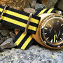 Band: Nato G10 »Yello Bond« | Uhr: Aquadive Bathyscaphe Bronze