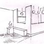 Aménagement intérieur : croquis espace cuisine 75019